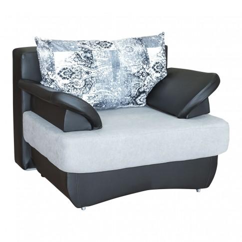 Canapea extensibila + fotolii Alex, gri + negru, 6C