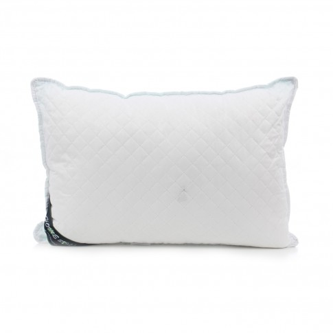 Perna pentru dormit Meltem 4 anotimpuri matlasata fibra poliester siliconizata + microfibra si frotir alb cu bleu 50 x 70 cm