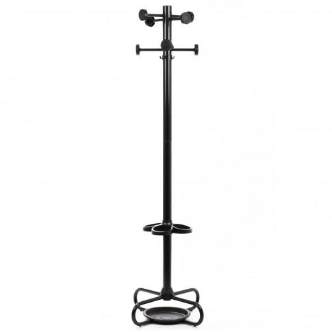 Cuier hol Monte cu 12 agatatori, metal negru + plastic negru, 540 x 540 x 1730 mm, 1C