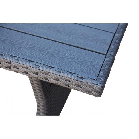 Set masa dreptunghiulara, cu 1 coltar cu perne, pentru gradina Sofa 43M LX-015, din metal cu ratan sintetic