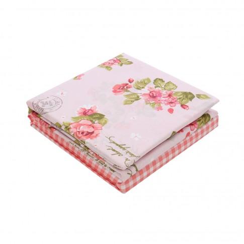 Lenjerie de pat, 2 persoane, Latte Grete Pudra, bumbac + poliester, 4 piese, roz