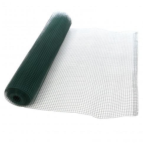 Plasa gard ornamental Grunman, acoperita cu PVC, verde, 0,5 x 10 m (0,9 x 13 x 13 mm)