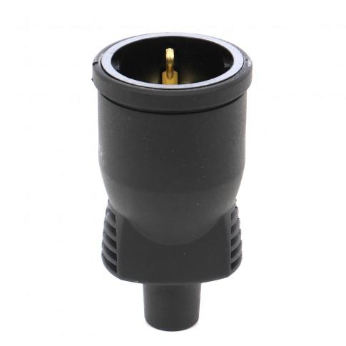 Cupla cauciuc Atra 1329, IP44, neagra, cu contact protectie, 16 A, 250 V