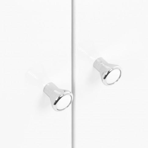 Masca baie + lavoar + oglinda Savini Due Basic, cu usi, alb, 65 x 86 x 45.5 cm