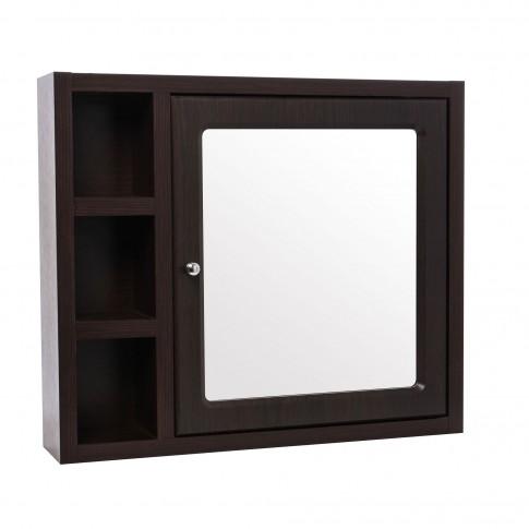 Dulap baie cu oglinda si polite, 1 usa, dreapta, Cersanit Mocca S544 - 001, 71 x 15 x 61.2 cm