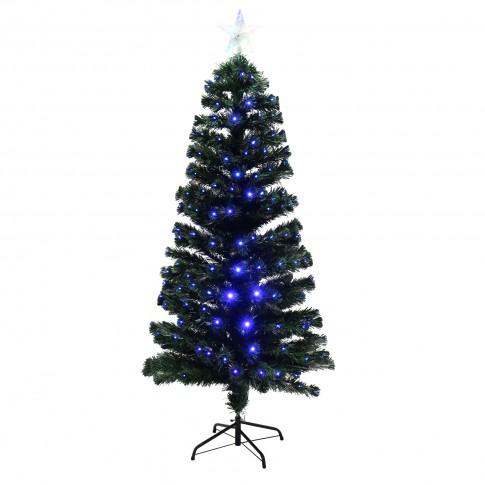 Brad artificial fibra optica de Craciun, Hoff, cu 230 LED-uri albastre, 180 cm
