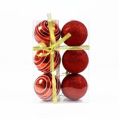 Globuri Craciun, rosii, D 8 cm, set 6 bucati, SD18-8-L3