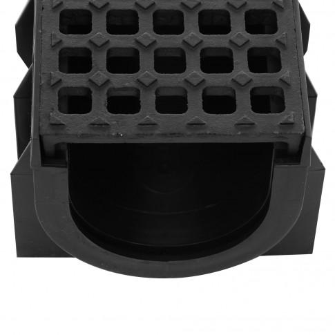 Rigola Skip PE-HD cu gratar fonta si barete, C250, 1000 x 158 x 120 mm