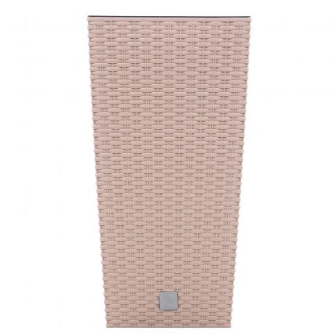 Ghiveci din plastic cu finisaj ratan sintetic Rato Tubus, patrat, mocca 26.5 x 26.5 x 50 cm