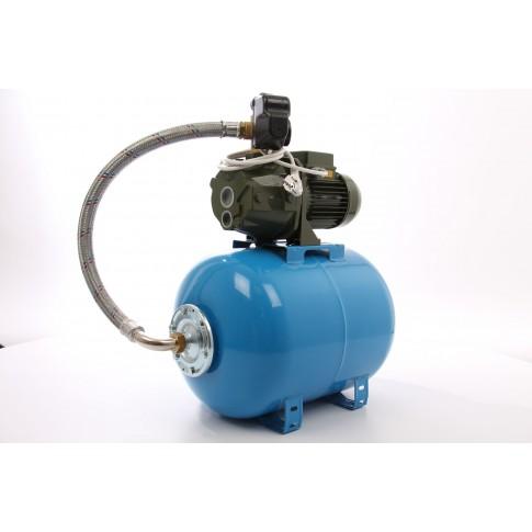 Hidrofor Saer M100, cu pompa autoamorsanta din fonta + vas 50 L + presostat + manometru + furtun flexibil + racord 5 cai + ejector, 750 W