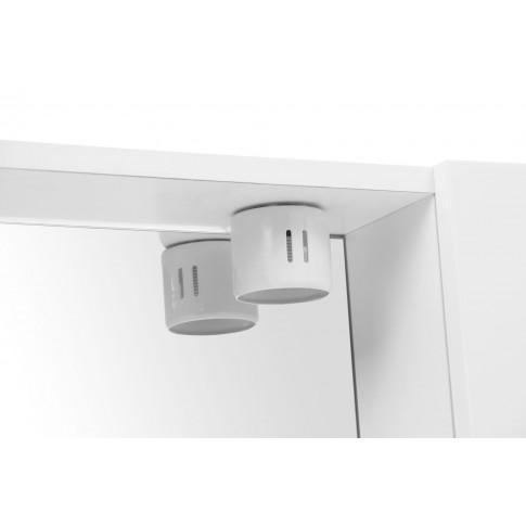 Dulap baie cu oglinda, iluminare si polita, 1 usa, dreapta, Savini Due 961, alb, 60 x 15.5 x 57 cm