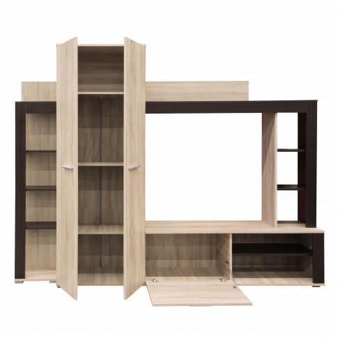 Biblioteca living Talin, stejar sonoma + wenge, 233 cm, 3C