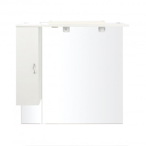 Dulap baie cu oglinda si iluminare, 1 usa, stanga, Savini Due Rimini 980, alb, 100 x 105 cm