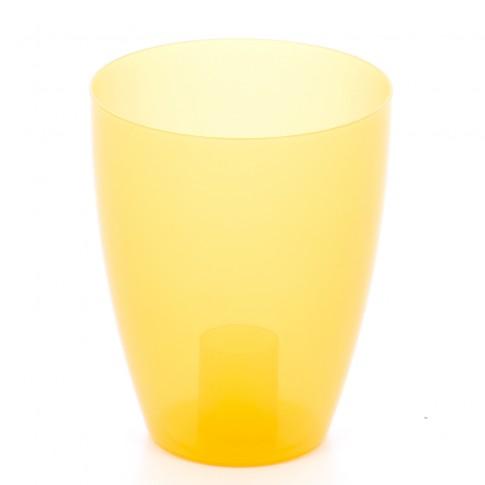 Ghiveci din plastic, pentru orhidee, Miltonia, portocaliu transparent D 13.3 cm