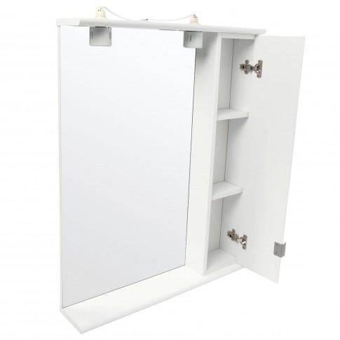 Dulap baie cu oglinda, iluminare si polita, 1 usa, dreapta, Roma, alb, 69 x 14.5 x 90.5 cm