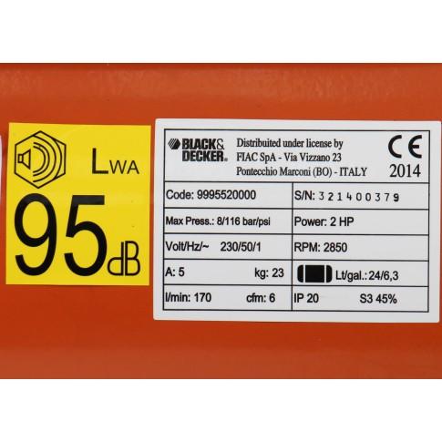 Compresor aer cu piston, cu ulei, Black&Decker CP2525N, 1.1 Kw, 2 CP, 24 litri