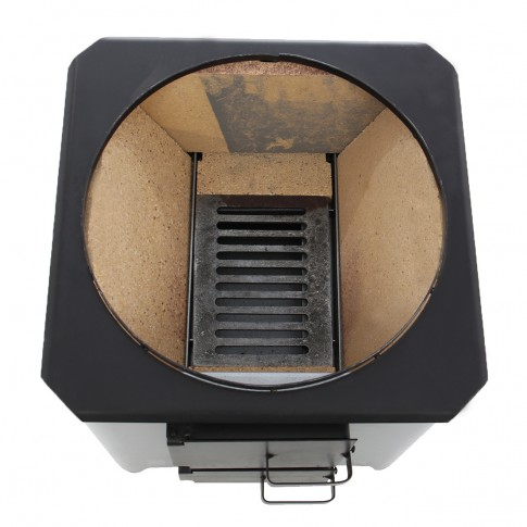 Ansamblu boiler pe lemne inox 90L cu focar economic FM