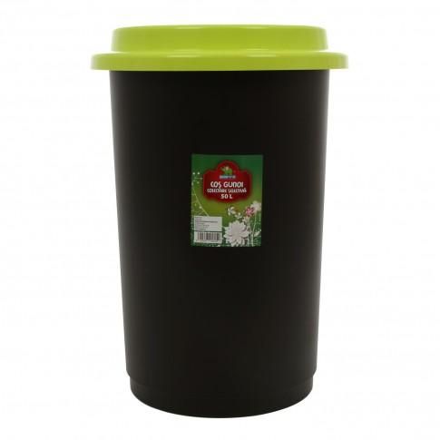 Cos gunoi colectare selectiva Plastina din plastic, forma cilindrica, negru, cu capac verde, 50L