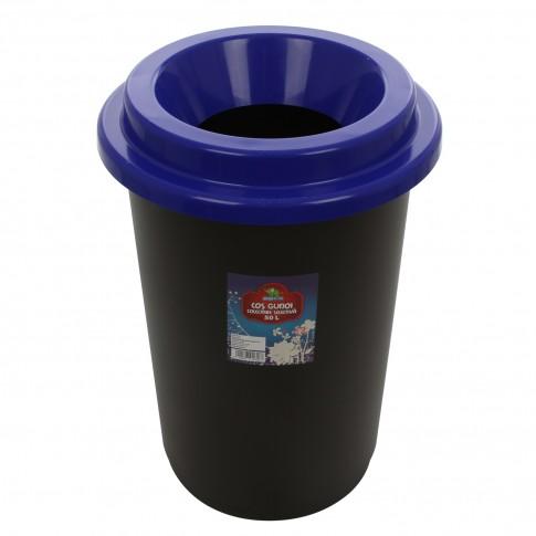 Cos gunoi colectare selectiva Plastina din plastic, forma cilindrica, negru, cu capac albastru, 50L