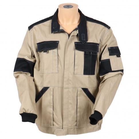 Jacheta de lucru Athos, bumbac, bej + negru, cu fermoar, marimea 50