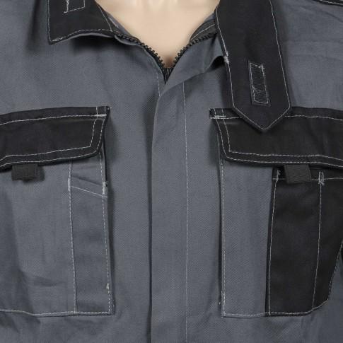 Jacheta de lucru Athos, bumbac, gri + negru, cu fermoar, marimea 50
