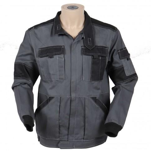 Jacheta Athos, bumbac, gri + negru, cu fermoar, marimea 50
