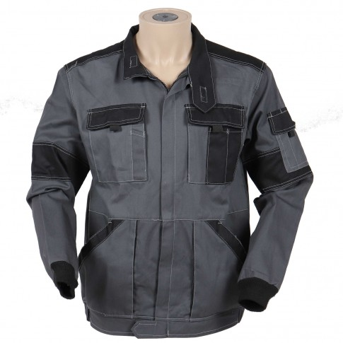 Jacheta de lucru Athos, bumbac, gri + negru, cu fermoar, marimea 52