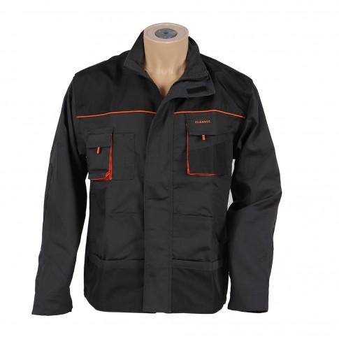 Jacheta Classic, poliester + bumbac, gri inchis + negru + portocaliu, marimea 48