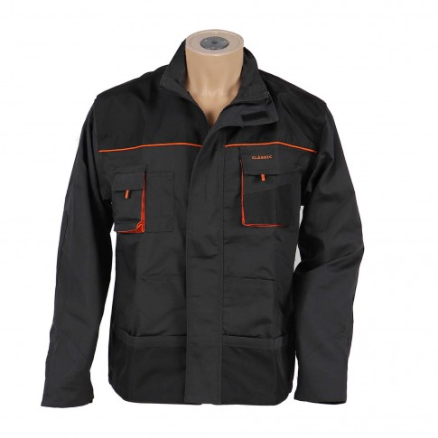 Jacheta Classic, poliester + bumbac, gri inchis + negru + portocaliu, marimea 58