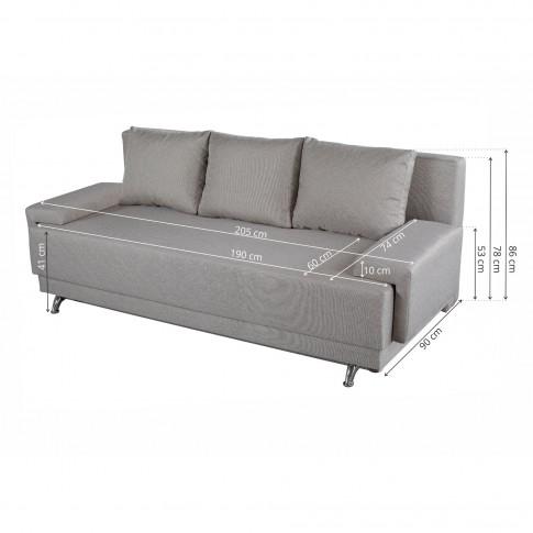 Canapea extensibila 3 locuri Karla, cu lada, bej, 205 x 84 x 78 cm, 2C