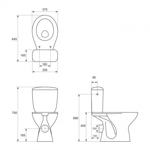 Set baie Kadda Keops, set compact WC + rezervor + lavoar + piedestal, ceramica, alb