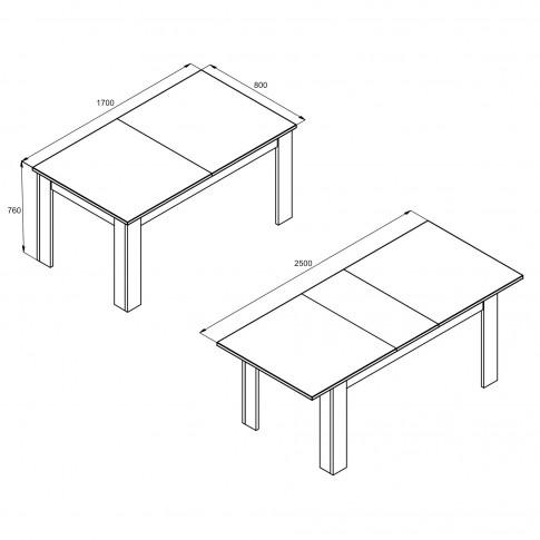 Masa bucatarie extensibila Klara, dreptunghiulara, 10 persoane, wenge, 170 / 250 x 80 x 76 cm, 2C