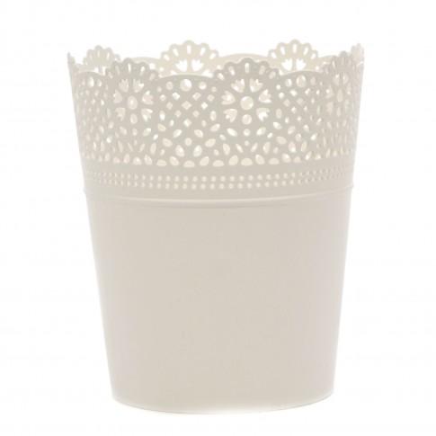 Ghiveci din plastic Lace, alb D 16 cm