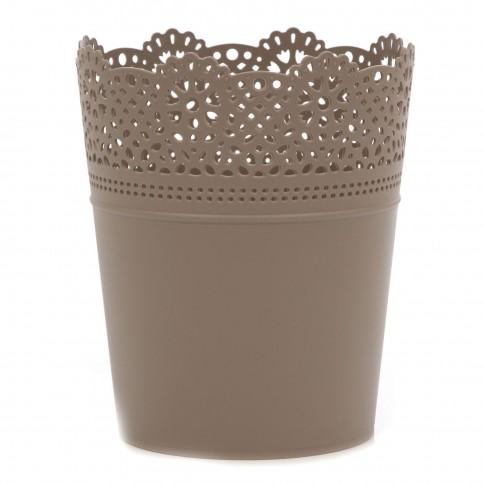 Ghiveci din plastic Lace, mocca D 16 cm