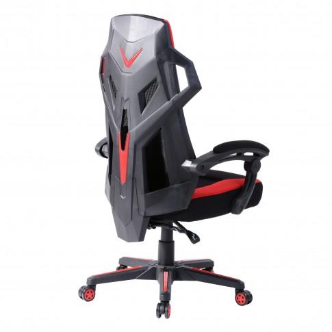 Scaun birou gaming Landuci, rotativ, PVC, negru + rosu
