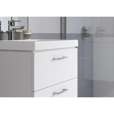 Masca baie + lavoar, Cersanit Lara Como S801-149, cu sertare, alb, 80 x 49 x 45 cm