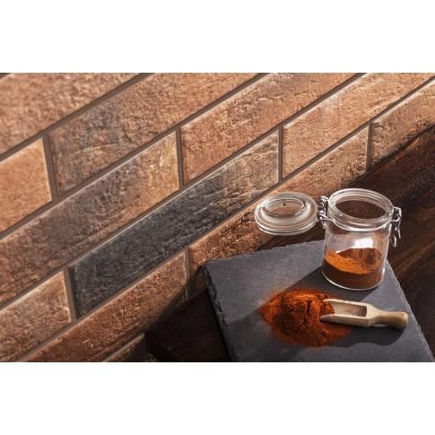 Placa soclu exterior, tip caramida, Loft brick chili, mata, 6.5 x 24.5 cm