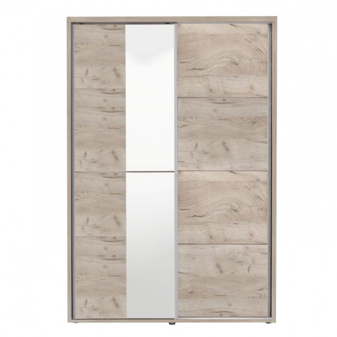 Dulap dormitor Logan 135, stejar gri, 2 usi glisante, cu oglinda, 137.5 x 61 x 206 cm, 3C