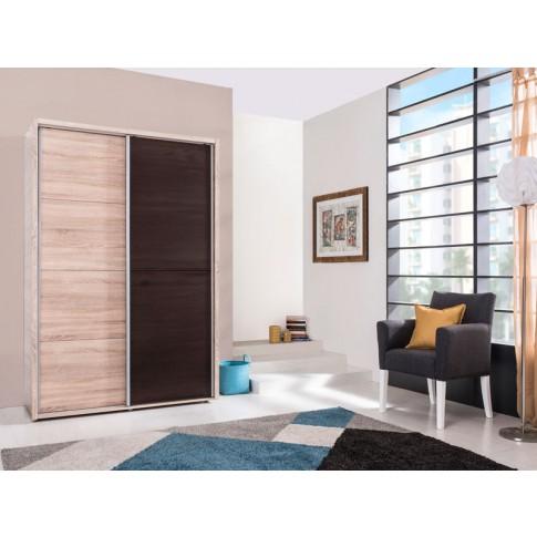 Dulap dormitor Logan 180, sonoma + wenge, 2 usi glisante, 184 x 61 x 206 cm, 3C