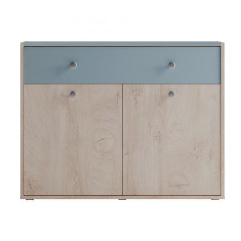 Comoda camera tineret Marvin, cu 2 usi + sertar, stejar grano + vernil, 100 x 77 x 42 cm, 2C