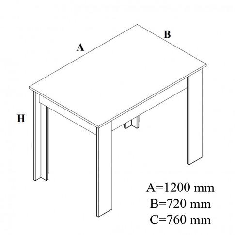 Masa bucatarie fixa Carina, dreptunghiulara, 4 persoane, magia, 120 x 72 x 76 cm, 2C