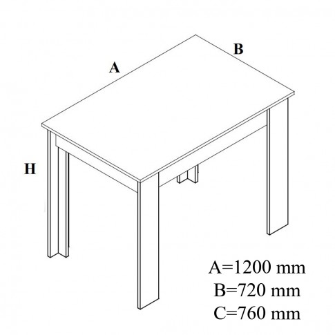 Masa bucatarie fixa Carina, dreptunghiulara, 4 persoane, stejar bardolino, 120 x 72 x 76 cm, 2C