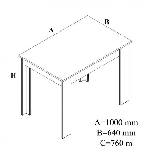 Masa bucatarie fixa Felix, dreptunghiulara, 4 persoane, stejar bardolino, 100 x 64 x 76 cm, 2C