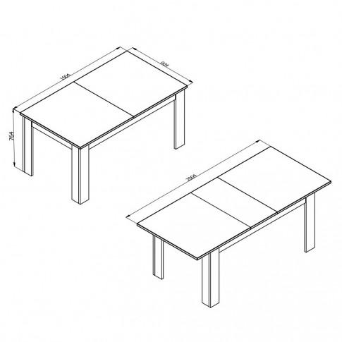 Masa bucatarie extensibila Oscar TS, dreptunghiulara, 6 persoane, stejar gri, 160.5 / 200.5 x 90.5 x 76.5 cm, 2C