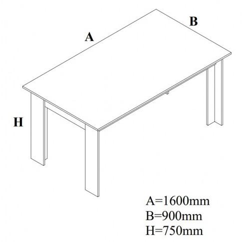 Masa bucatarie fixa Siena, dreptunghiulara, 6 persoane, stejar bardolino, 160 x 90 x 75 cm, 2C