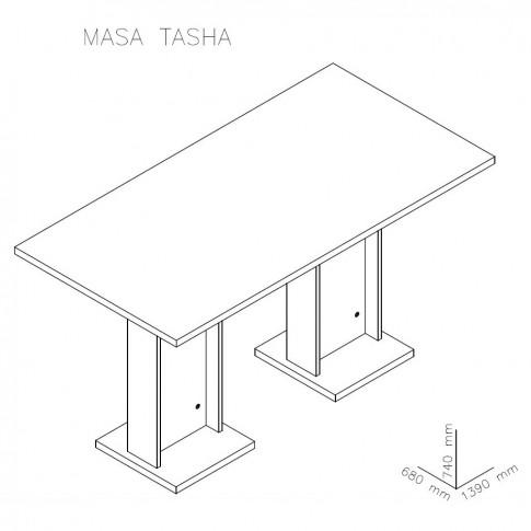 Masa bucatarie fixa Tasha, dreptunghiulara, 4 persoane, stejar bardolino, 139 x 68 x 74 cm, 2C