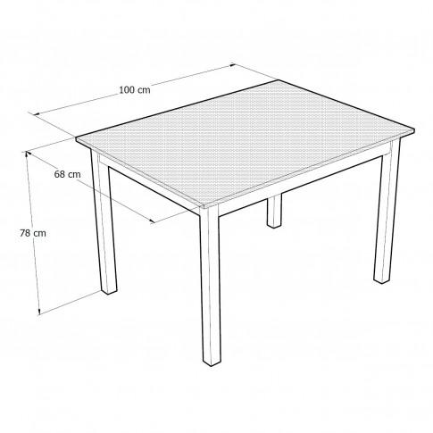 Masa bucatarie fixa Prod, dreptunghiulara, 4 persoane, wenge, 100 x 68 x 78 cm