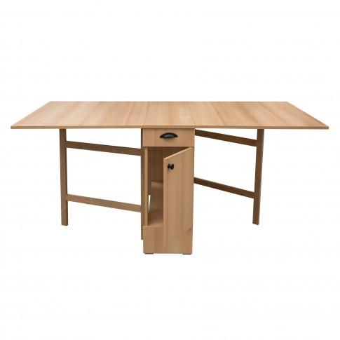 Masa bucatarie plianta, cu role + loc scaune, dreptunghiulara, 8 persoane, fag, 34 / 180 x 92 x 80 cm, 1C