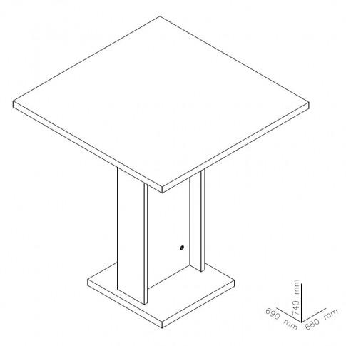 Masa bucatarie fixa Kirra, dreptunghiulara, 2 persoane, sonoma dark, 69 x 68 x 74 cm, 2C