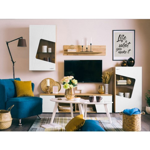Biblioteca living Max, stejar auriu + alb, 230 cm, 3C